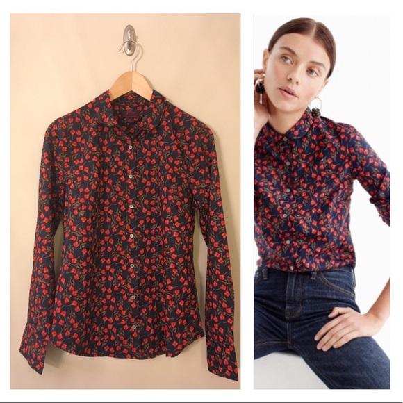 1d75113cced5a J. Crew Tops - J. Crew Liberty Ros Floral Perfect Shirt Size 10